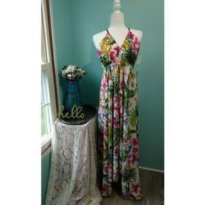 NWT Live 4 Truth Women's White Tropical Dress Sz L